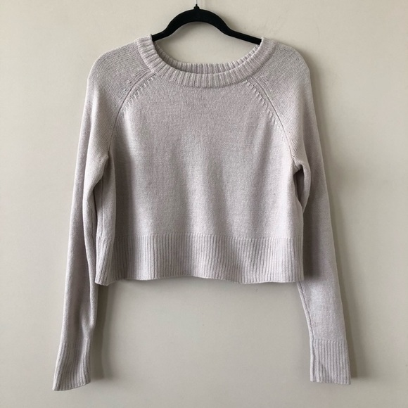 "Aritiza ""Talula"" Crop Neutral Wool Blend Sweater"